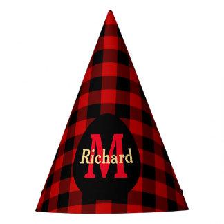Monograma e nome vermelhos e pretos da xadrez chapéu de festa