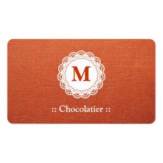 Monograma elegante do laço de Chocolatier Modelo Cartões De Visita