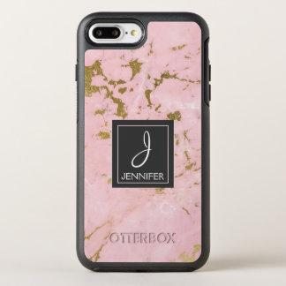 Monograma elegante do mármore do ouro do rosa do capa para iPhone 7 plus OtterBox symmetry