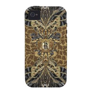 Monograma elegante lateral selvagem capas para iPhone 4/4S