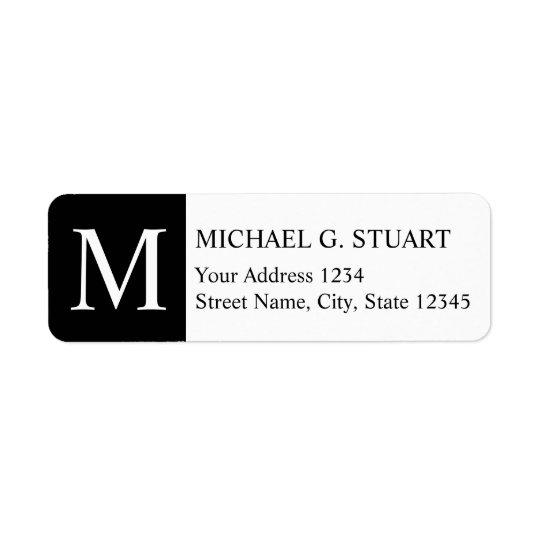 Monograma elegante preto e branco etiqueta endereço de retorno