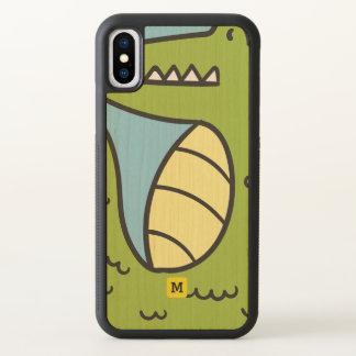 Monograma. Engraçado. Crocodilo verde bonito do