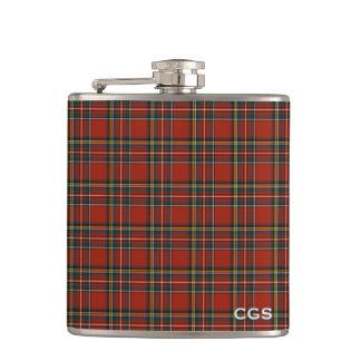 Monograma escocês vermelho da xadrez do Tartan Cantil
