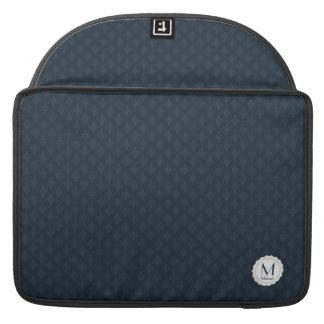 Monograma escuro dos azuis marinhos bolsa MacBook pro