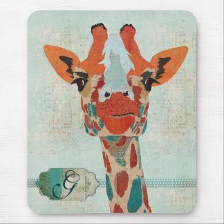 Monograma espreitando ambarino Mousepad do girafa