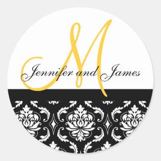 Monograma & etiqueta do casamento do amarelo do adesivo