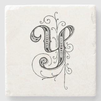 Monograma extravagante 'Y do vintage Porta-copo De Pedra