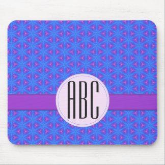 Monograma feito sob encomenda geométrico roxo azul mouse pad