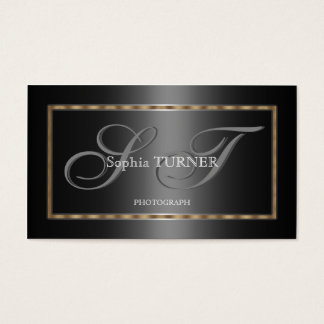 Monograma feito sob encomenda preto cinzento do cartão de visitas