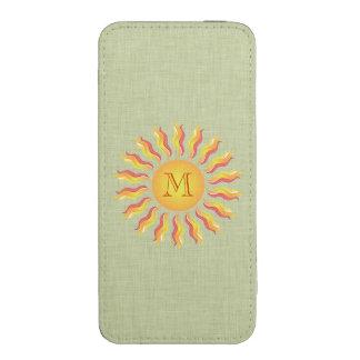 Monograma feminino bonito de Sun verde pálido Bolsinha Para Celular
