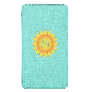 Monograma feminino de Sun de turquesa bonito Bolsa Para Celular