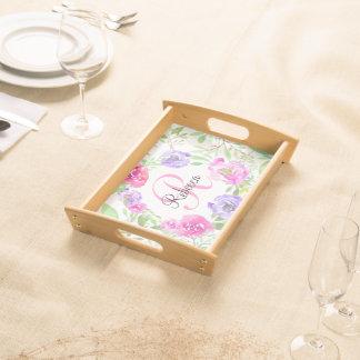 Monograma floral da aguarela da peônia cor-de-rosa bandejas de alimentos