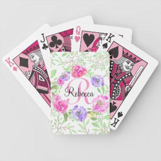 Monograma floral da aguarela da peônia cor-de-rosa baralho de cartas