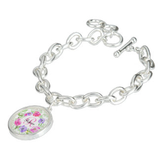 Monograma floral da aguarela da peônia cor-de-rosa braceletes