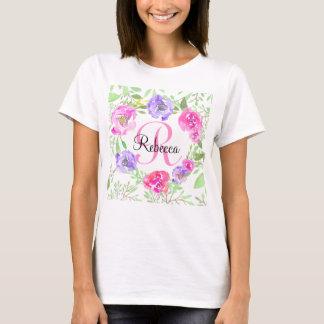 Monograma floral da aguarela da peônia cor-de-rosa camiseta