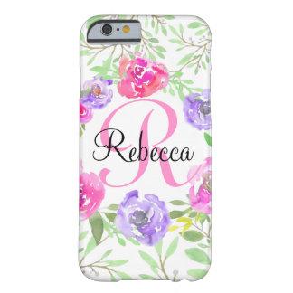 Monograma floral da aguarela da peônia cor-de-rosa capa barely there para iPhone 6