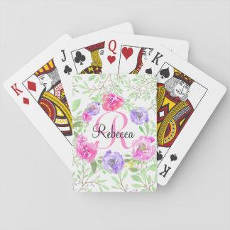 Monograma floral da aguarela da peônia cor-de-rosa cartas de baralho