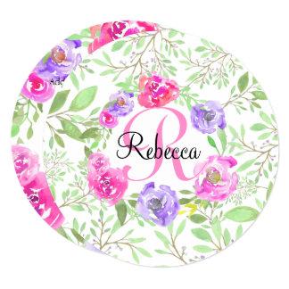 Monograma floral da aguarela da peônia cor-de-rosa convite quadrado 13.35 x 13.35cm