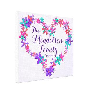 Monograma floral da forma do coração do nome de