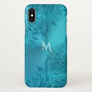 Monograma floral do laço de turquesa metálica capa para iPhone x