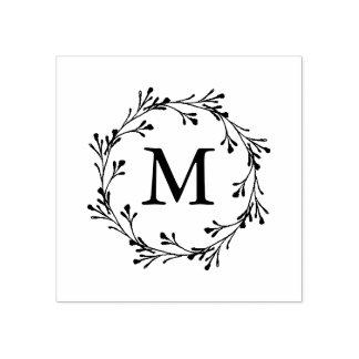 Monograma floral elegante da grinalda carimbo de borracha