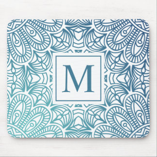Monograma floral elegante | Mousepad da mandala