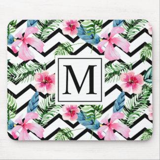 Monograma floral tropical | Mousepad do casamento
