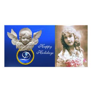 Monograma FLORENTINO da gema da safira do ANJO do Cartão Com Foto