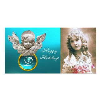 Monograma FLORENTINO da gema de Tuquase do ANJO do Cartão Com Foto