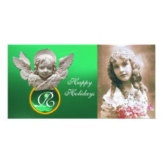 Monograma FLORENTINO da gema do verde do ANJO do Cartão Com Foto