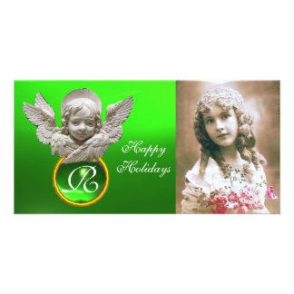 Monograma FLORENTINO da gema do verde do ANJO do R Cartão Com Foto
