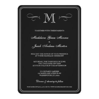 Monograma formal casamento preto & branco de | convite 12.7 x 17.78cm
