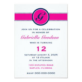 Monograma formal do rosa quente & dos azuis convite 12.7 x 17.78cm