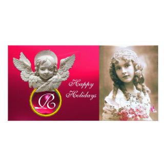 Monograma fúcsia da gema do ANJO FLORENTINO do Cartão Com Foto