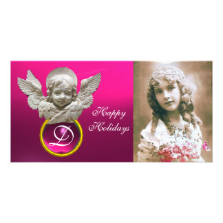 Monograma fúcsia da gema do ANJO FLORENTINO do REN Cartão Com Foto