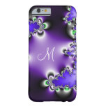Monograma geométrico do Fractal do vintage roxo Capa Barely There Para iPhone 6
