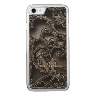 Monograma gótico preto do teste padrão capa iPhone 7 carved