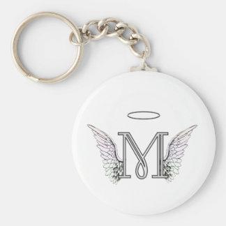 Monograma inicial da letra M com asas & halo do an Chaveiro