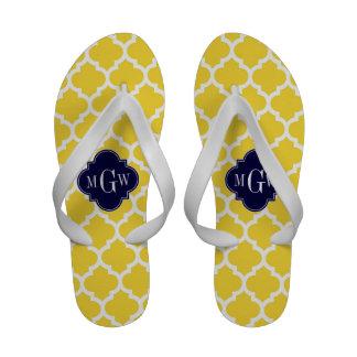 Monograma inicial do marinho 3 brancos do sandália de dedo