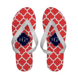 Monograma inicial do marinho 3 brancos vermelhos sandálias de dedo