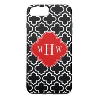 Monograma inicial do vermelho 3 brancos pretos do capa iPhone 7 plus