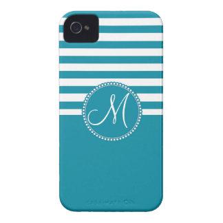 Monograma listrado azul e branco do Aqua da Capinhas iPhone 4