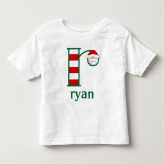 Monograma listrado r da camisa do Natal do papai