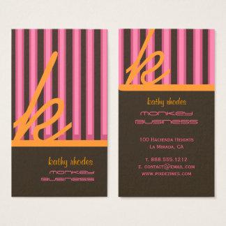 Monograma listras alaranjadas/rosa/chocolate cartão de visitas