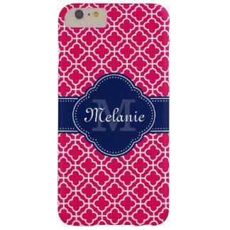 Monograma marroquino branco cor-de-rosa do marinho capas iPhone 6 plus barely there