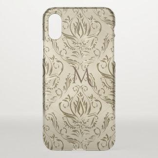 Monograma metálico elegante do damasco do ouro capa para iPhone x