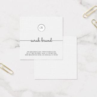 Monograma minimalista chique cartão de visitas quadrado