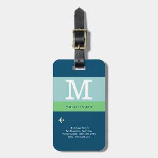 monograma moderno azul do viagem tags de bagagens