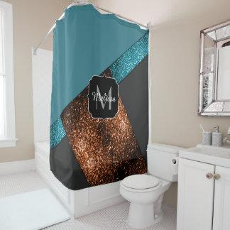 Monograma moderno dos sparkles azuis e de bronze cortina para chuveiro