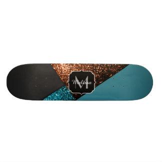 Monograma moderno dos sparkles azuis e de bronze shape de skate 20cm